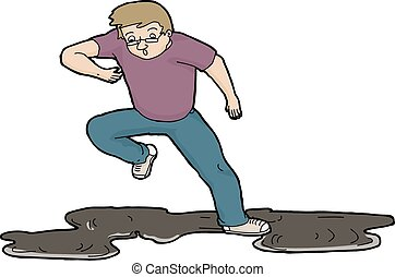 Man Slipping On Oil - Cartoon illustration of man slipping...