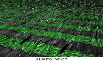 Abstract stripes in green on black