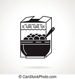 Black vector icon for breakfast cereal - Black flat vector...
