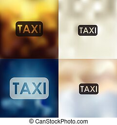taxi icon on blurred background