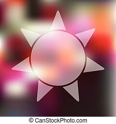 sun icon on blurred background