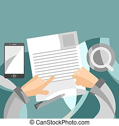 Reviewing business papers concept in flat style - paper...