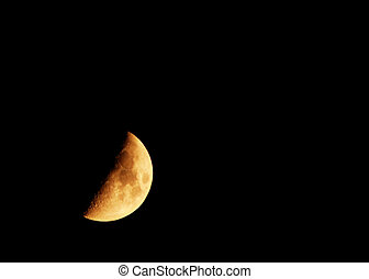 Half moon view from a telephoto lens