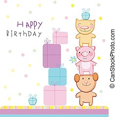 Happy birthday - Birthday greeting card, friends.