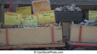 Gemstones in boxes on farmers market - 4K native material,...