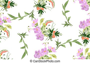 Wild flowers seamless pattern on white background vector...