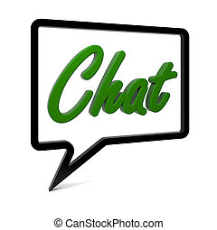 Chat - Speech bubble with CHAT text isolated on white. Part...
