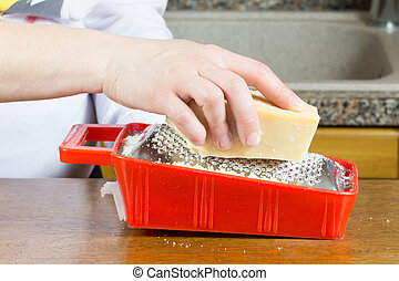 grating Parmesan cheese