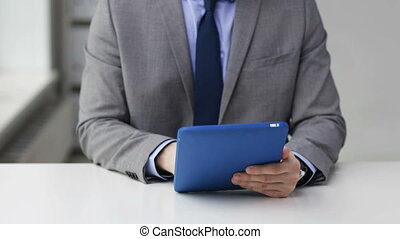 close up of businessman hands with tablet pc - business,...