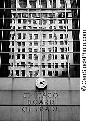 Detail of Chicago Board of Trade Building - Detail black and...