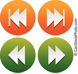Set of buttons, icons with next, previous and fast forward, backward arrows.