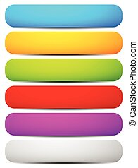 Set of colorful long, horizontal button, banner backgrounds with rounded corners. Vector.