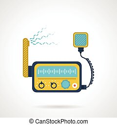Radio transceiver flat vector icon - Flat color design...