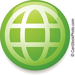 Green grid, wire frame globe vector icon, symbol