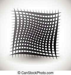 Abstract wavy grid, mesh of curved lines with twisted,...