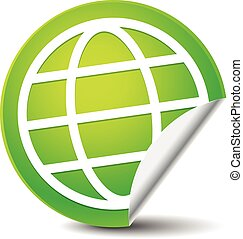 Wire-frame globe on peeling green sticker. Vector icon.