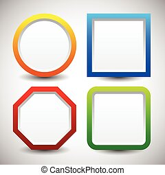 Basic shape vector elements with blank white space