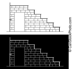 Drawing of a brick stair with stone or marble slab