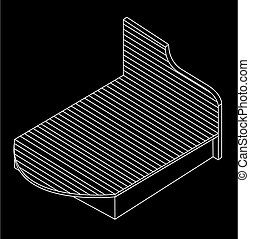 3d view of a wooden bed furniture drawing