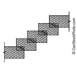 Rectangular stone stairs