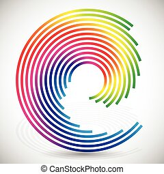Concentric, spirally lines with spectrum colors Twisting,...