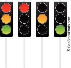Traffic lights, traffic lamps isolated on white Vector
