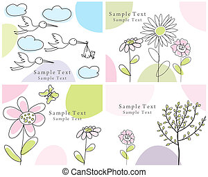 set of greeting cards - Set of four vector greeting cards...