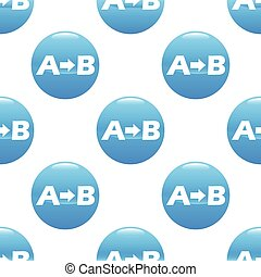 From A to B pattern - Round sign with letters A and B and...