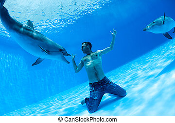 Men and two dolphin fooling around on the bottom of the...