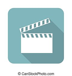 Clapperboard icon - Vector square icon with image of...