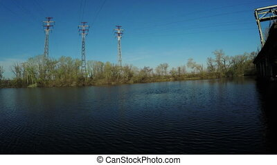 Mast power lines - Standing Island on Dnepr power lines