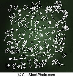 Sketchy love heart design on blackboard