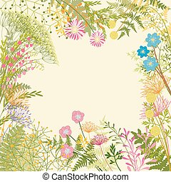 Springtime Colorful Flower Garden Party Background -...
