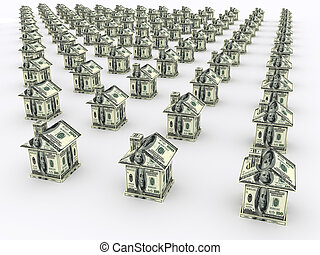 Many houses from the money. Business concept - Many houses...
