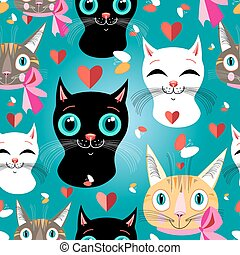 Pattern of portraits of cats - seamless pattern of funny...