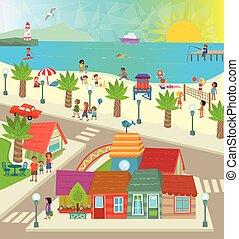 Beach Town - Aerial view of a town with shops, beach, ocean...