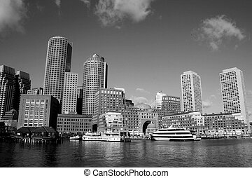Boston - Skyline along Boston Harbor