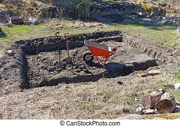 Preapare for building a small house and wheel barrow -...
