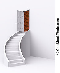 stair with open door. 3d