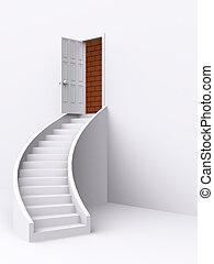 stair with open door. 3d