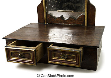 Old Piece of Furniture with Drawers and Mirror