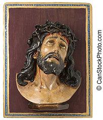 Wooden Image of Jesus Christ on Velvet