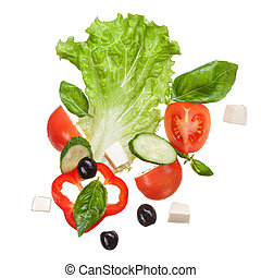 salad isolated in white, top view - salad isolated in white...