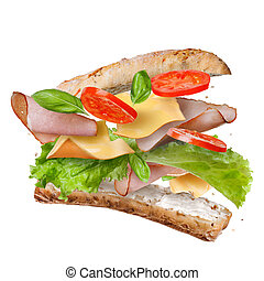 Sandwich with falling ingredients in the air isolated on...