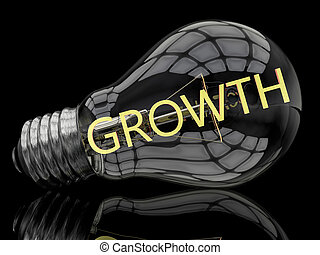 Growth - lightbulb on black background with text in it 3d...