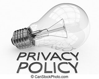 Privacy Policy - lightbulb on white background with text...