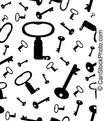 keys - Seamless pattern with old keys on a white background,...