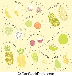 Set of hand drawn tropical fruits part 1 - Set of hand drawn...