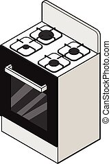 Stove - Vector illustration of isometric view of a stove...