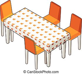 dining table with flowered tablecloth and chairs. - Vector...